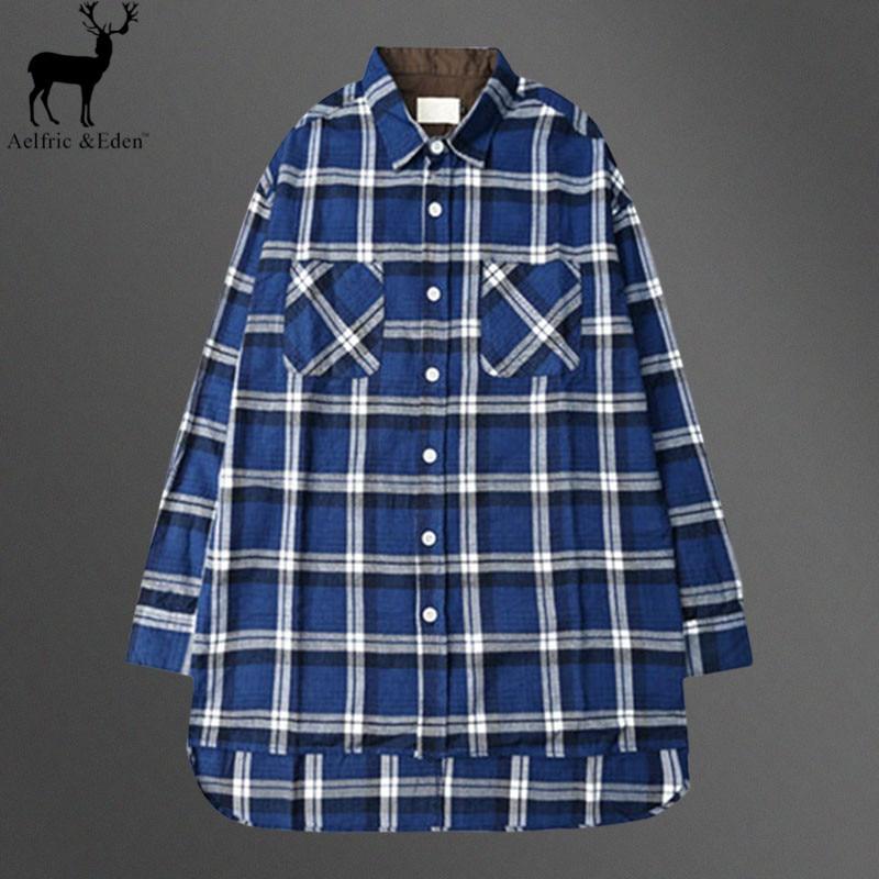 Aelfric Eden Men Hemden Men s Blue Plaid Leisure Long Sleeveshirt Shirt Man Justin  Bieber Classic Designer 27de8860b998
