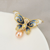 Luxury Crystal Rhinestone Butterfly Brooches for Women Natural Pearl Brooch Pins Jewelry for Female Wedding Scarf Accessories