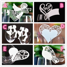 50 Pcs Bird Angle Heart Shape Wine Glass Paper Cards Escort Cup Name Place Card Birthday Party Supplies Wedding Decoration Table