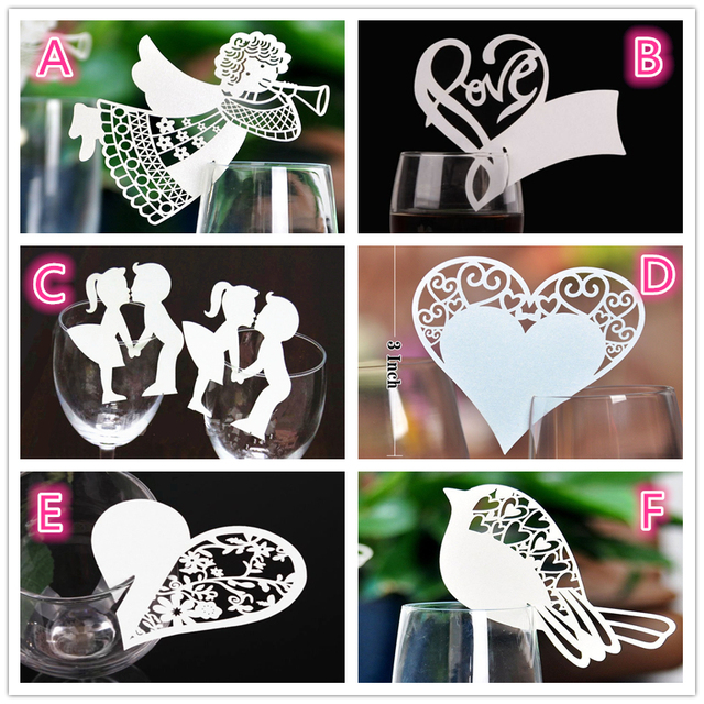50 pcs angle heart wine glass paper cup cards name place new year party supplies christmas