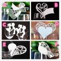 50 Pcs Bird Angle Heart Shape Wine Glass Card Laser Cut Escort Cup Name Place Card Birthday Party Wedding Decorations for home