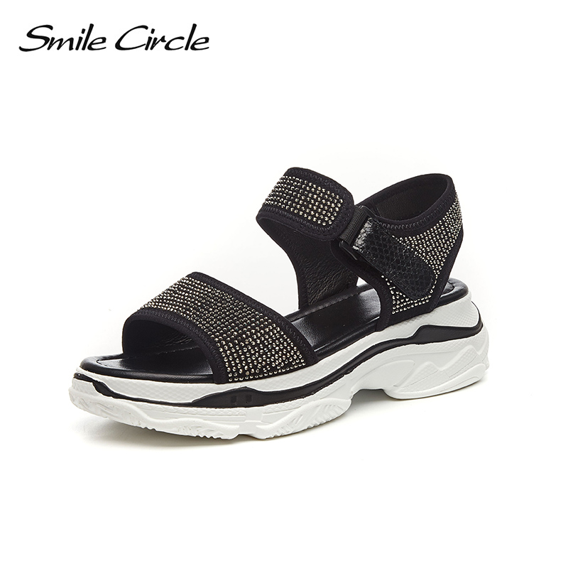 803b092502ea84 ... Summer Open Rhinestone shoes Platform casual Smile Flat Circle shoes  women Toes red Fashion sandals Sandals ...