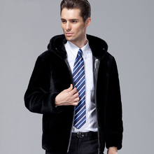 Men Sheepskin Clothing Fur Hooded Collar Long Sleeve Zipper Decoration Winter Thickened Coat Genuine Leather Short Jacket MSTS06