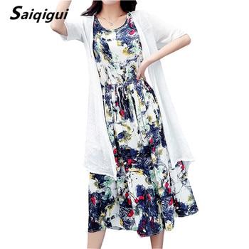 Saiqigui  Summer dress women dress casual Loose tow piece Cotton Line dress Print o-neck plus size vestidos de festa M-5XL 1