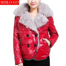 Plus size Fashion women high quality Lambswool fox fur lapel double breasted warm red short feather genuine leather coat XXXL