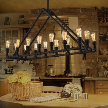 אור תליון צינור מים תעשייתי בציר לופט בר מנורת אדיסון רטרו אדיסון אישית קלאסי עתיק תליון מנורת תאורה