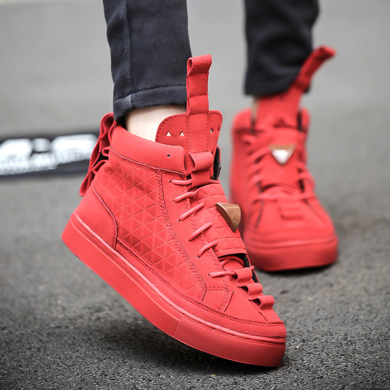 2016 Fashion Patrick Mohr Men Women Flat Triangle Shoes Genuine Leather Nubuck Trend Casual High Top Skate Tenis Feminino