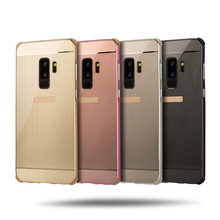 For Samsung Galaxy S9 S 9 Case Brushed Back Cover Hard Case with Plating Metal Frame Case for Samsung Galaxy S9 Plus S9+ Cover s9 360 degree protection hard case for samsung galaxy s9 s 9 cover shockproof case for samsung galaxy s9 plus s9 case glass