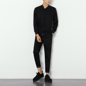 Image 2 - Helisopus 2020 Mens Overalls Rompers With Zipper Harem Bib Pants Male Long Sleeved One Piece Skinny Black Jumpsuit Asian size