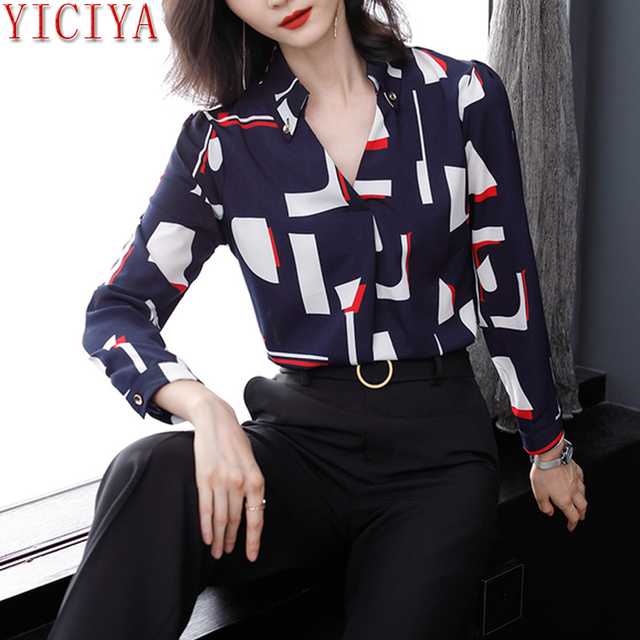 YICIYA ciffon Office OL button blouse women plus size big long sleeve tops and blouses elegant shirt winter autumn 2018 clothing