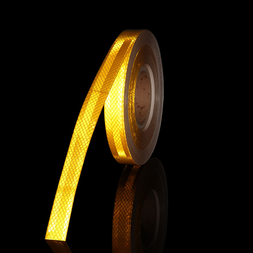 25mmx3m DIY Reflective Tape Yellow Micro Film Warning Tape Yellow Reflectors Tape For Safety Protection Of Helmet Motor Bicycle