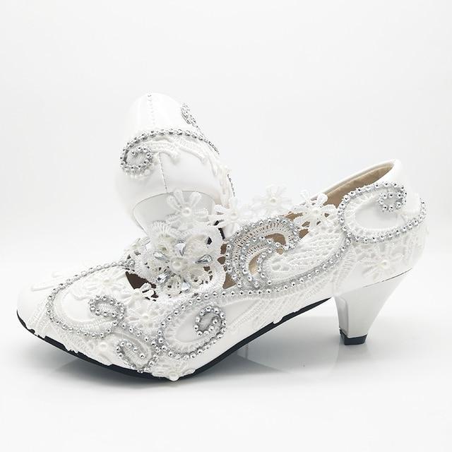 Round Toe White Lace Flower Shoes Womenu0027s Pumps Fashion Bridesmaid Dress Shoes  Bride Wedding Shoes Big