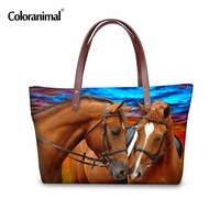 Coloranimal Women Large Handbags Horse Pattern Lady Shipping Bags For Travel High Quality Women Designer Sac A Main Bolsos Mujer