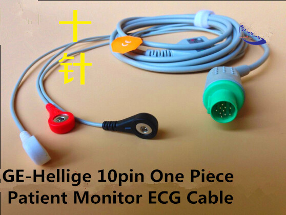 цены Free Shipping Compatible for GE-Hellige One Piece Patient Monitor ECG Cable with 3 Leads Snap End AHA Standard Cables and Wires