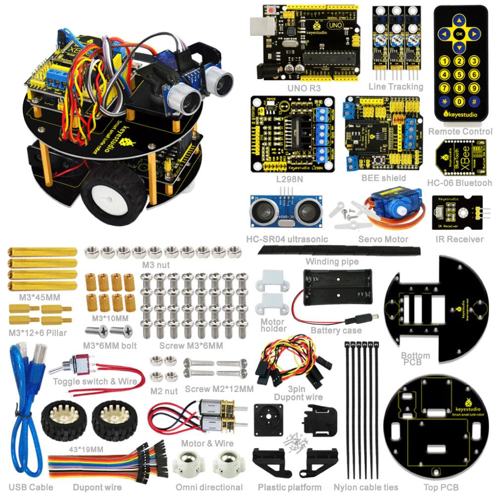 New Year present Keyestudio DIY Smart car learning kit intelligent turtle robot for Aduino Robot starter