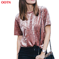 OOTN casual velvet solid pin2017 new t shirts tee shirt women short sleeve summer slim brief round neck top women fashion tops