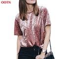 Pin2017 OOTN veludo casuais sólida novas camisas t shirt mulheres manga curta verão fino breve em torno do pescoço top mulheres moda tops