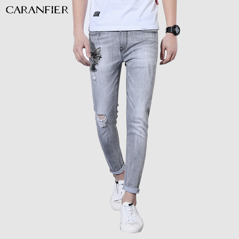 CARANFIER 2018 Light Gray Men Ankle length Hole Pencil Jeans Thin Stretch Embroidery Men's Pants Simple Fashion Casual Pants