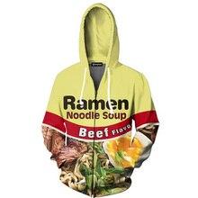 Cloudstyle 2020 3D Zip Up Hoodies Ramen Noodle Beef 3D Print Hoody Sweatshirt Casual Jacket Streetwear Outwear Plus Size 5XL