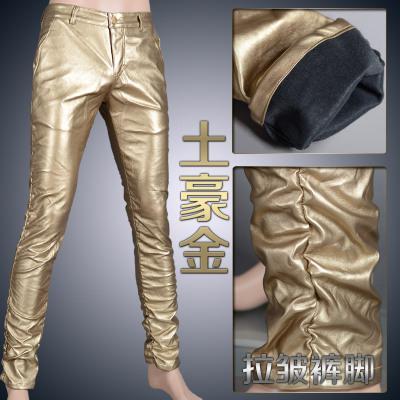 Мотоцикл Клуб Плотно Искусственной Кожаные Штаны Мужчины Горячая Мужская Мода брюки Для Мотоциклов Танцевальные Брюки Для Мужчин Hip Hop Мужчины Брюки - Цвет: gold wrinkle