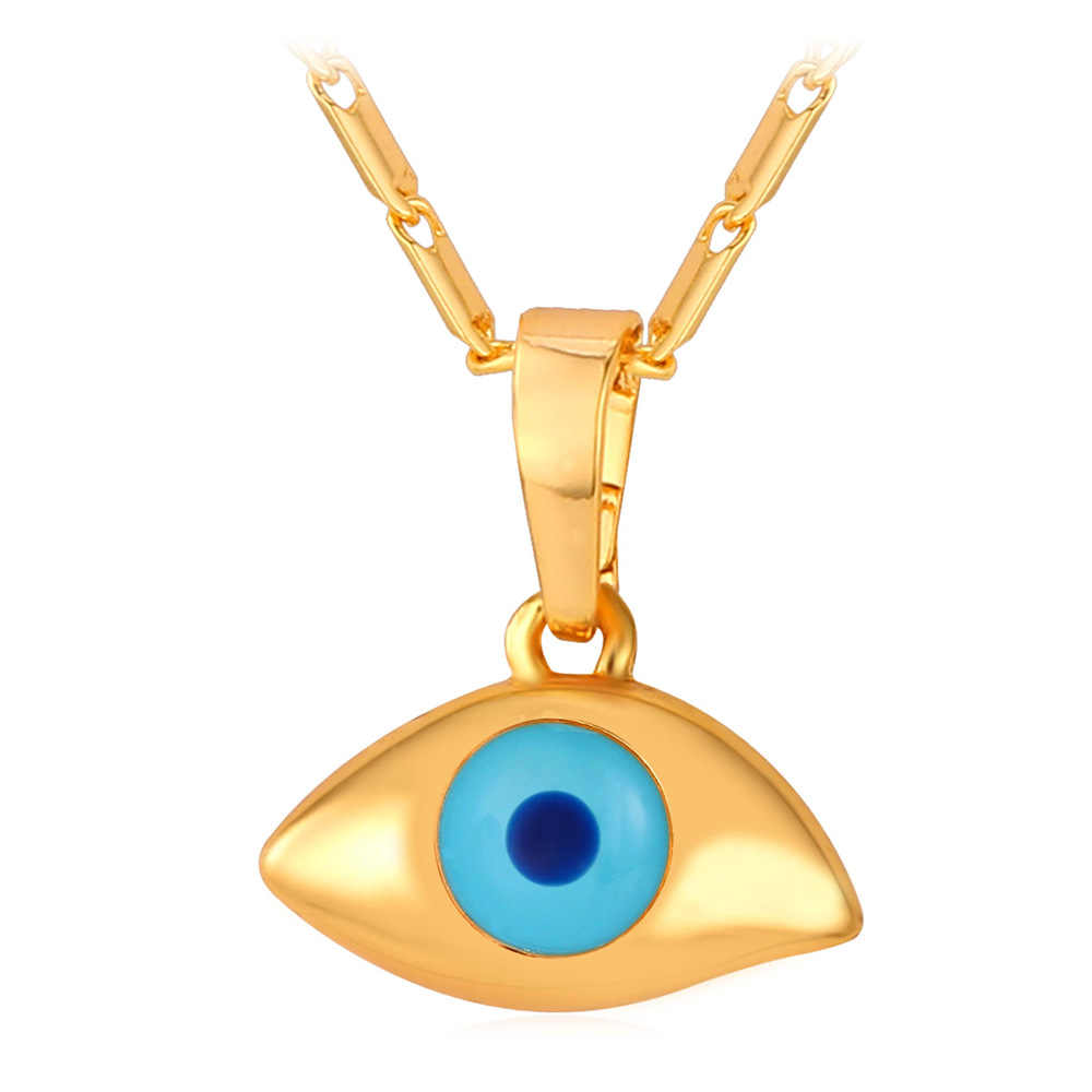 Yellow Gold Color Evil Eyes Necklace & Pendant Lucky Jewelry For Women Fashion P236
