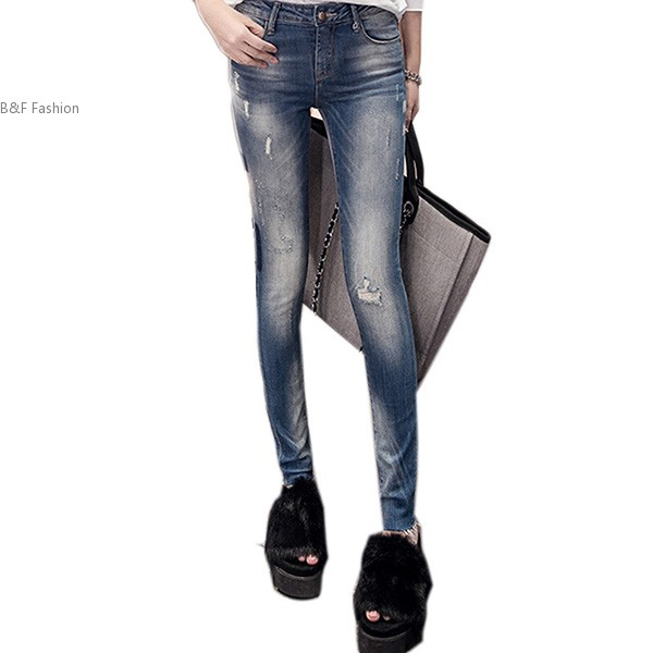 New Women Fashion Slim Mid Waist Casual Holes Skinny Pencil Jeans harajuku skinny pencil jeans new women fashion slim mid waisted casual holes skinny pencil jeans
