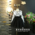 Корейский детский clothing 2017 весной новые девушки сладкий листьев лотоса стороне краю с длинными рукавами рубашка бесплатная доставка