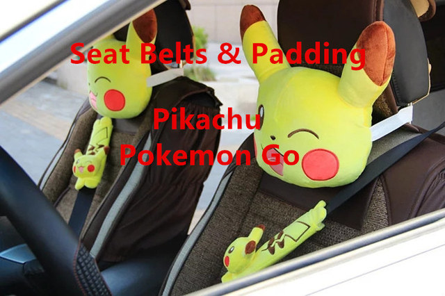 Car Styling Pikachu Pokemon Go Seat Belt Cover Harness Shoulder Pad Auto Cusion Pillow