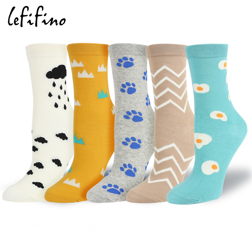 Novelty Women Dog Footprint Socks Field Pattern Happy Socks Cute Creative Print Cartoon Cotton Fashion Socks for Women Le15540
