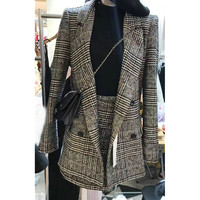 Two pieces Set Autumn Winter Women Houndstooth Skirt Suits Casual Woolen Plaid Blazer + Skirt Set Suits Female Office Suits