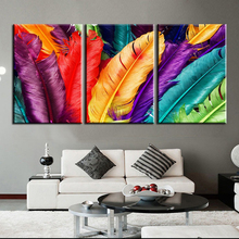 Фотография CHENFART 3 Pieces Colorful Feathers Canvas Painting Wall Art Pictures For Living Room Home Decor No Frame