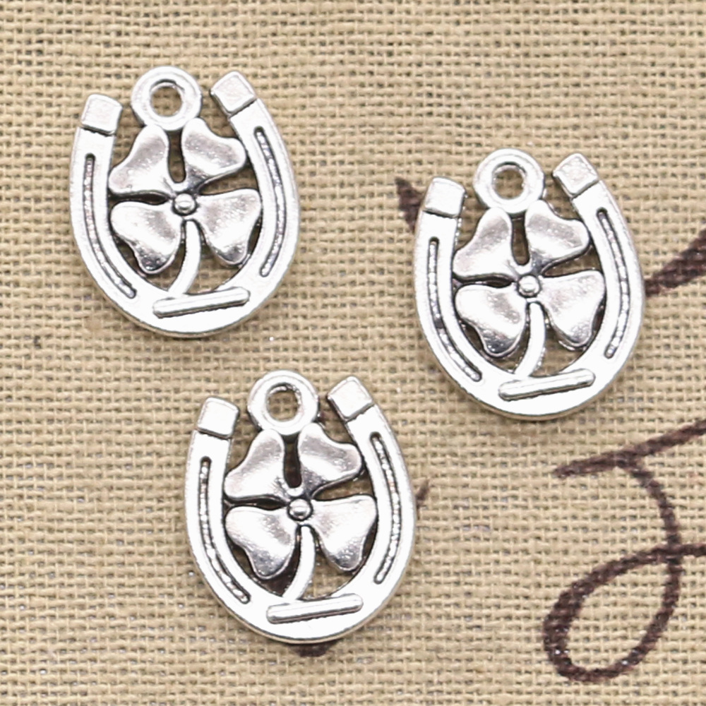 8pcs Charms Horseshoe Lucky Clover 18x15mm Antique Making Pendant fit,Vintage Tibetan Bronze Silver color,DIY Handmade Jewelry(China)