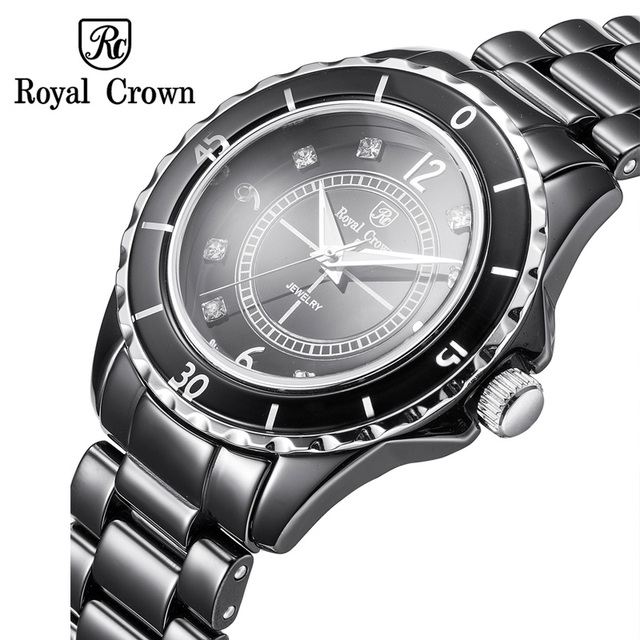 970c7f69b13 Ceramic Men s Watch Women s Watch Japan Quartz Hour Fine Fashion Clock  Bracelet Luxury Rhinestones Girl s Gift Royal Crown
