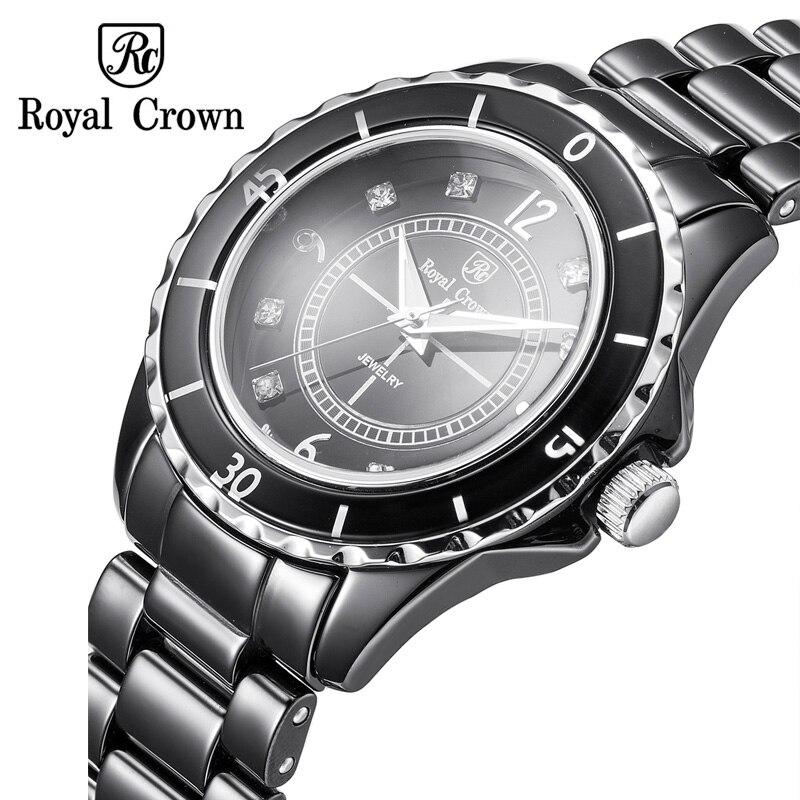 Saatler'ten Kadın Saatleri'de Seramik erkek saati Wo erkek saati Japonya Kuvars Saat Güzel Moda Saat Bilezik Lüks Rhinestones kızın Hediye Kraliyet Taç'da  Grup 1