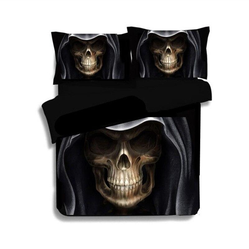 3D Crâne Lit Linge Noir Couleur Reine Roi Taille Crâne Portant chapeau Calavera de Literie Housse de Couette housse de couette Crâne Couverture De Lit