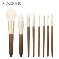 LADIS Retro Solid Wood Fiber Brush Makeup Set 8pcs Wooden Makeup Set