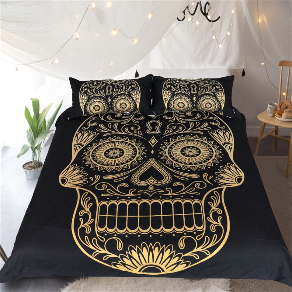 Boho Mandala Golden Skull Bedding Set 3pcs Duvet Cover with Pillowcase Dark Blue Bedclothes Queen Size High Quality