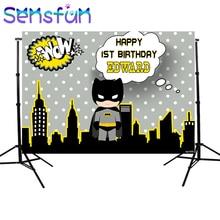 Sxy107b Karikatür Batman Arka Planında Özel Çocuk Doğum Günü Photocall Gece Süper Kahraman Fotoğraf Stüdyosu Için Arka Planlar 220x150cm