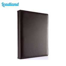 Fashion Style Business Office Supplies Colorful Leather 4 Ring Binder Files Folder Travel Portfolios Brown