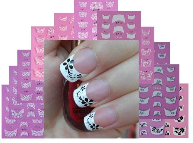 Women love 3D nail sticker New france fake nail sticker with flower gridding nail decoration Free shipping  XF821