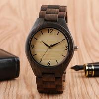 Fashion Nature Wood Fold Clasp Wristwatch Sport Wooden Novel Handmade Bamboo Men Watches Casual Gift Analog