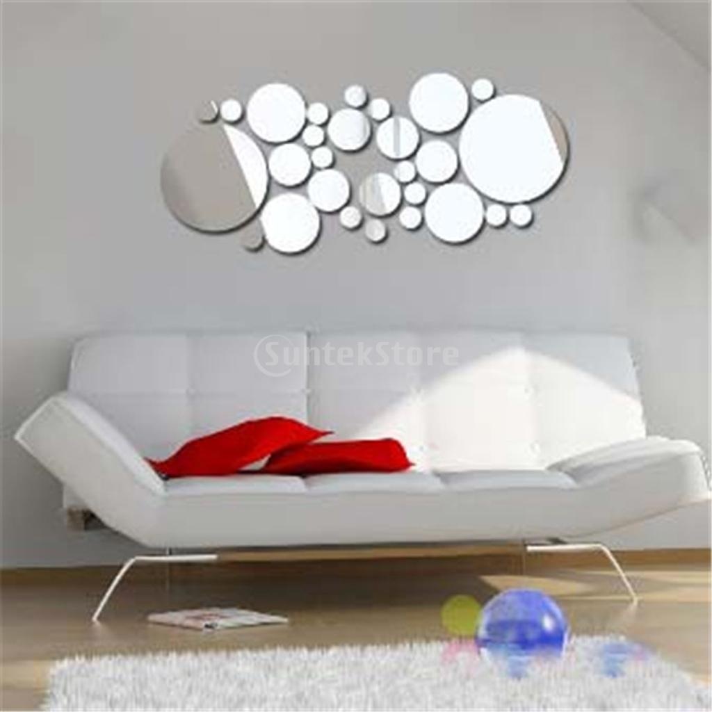 30pcs Filled Circle Mirror Style Removable Decal Art Mural Wall Sticker DIYfor Bedroom Home Decor Fast Shipping in Wall Stickers from Home Garden