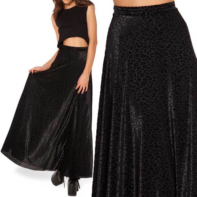 2015 de la falda de leopardo falda larga quemadas terciopelo negro falda  maxi faldas mujeres largas 3fe9e486891a