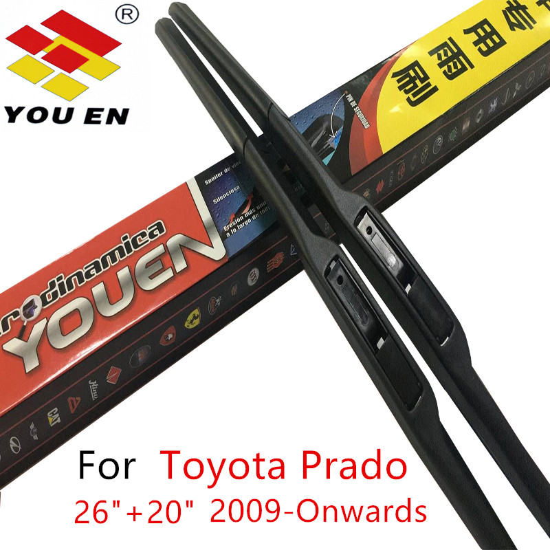 цена на YOUEN Windshield Wiper Blades For Toyota Prado 150 2009-Onwards Pair 26''+20'' Rubber Windscreen Glass Auto Car Accessories