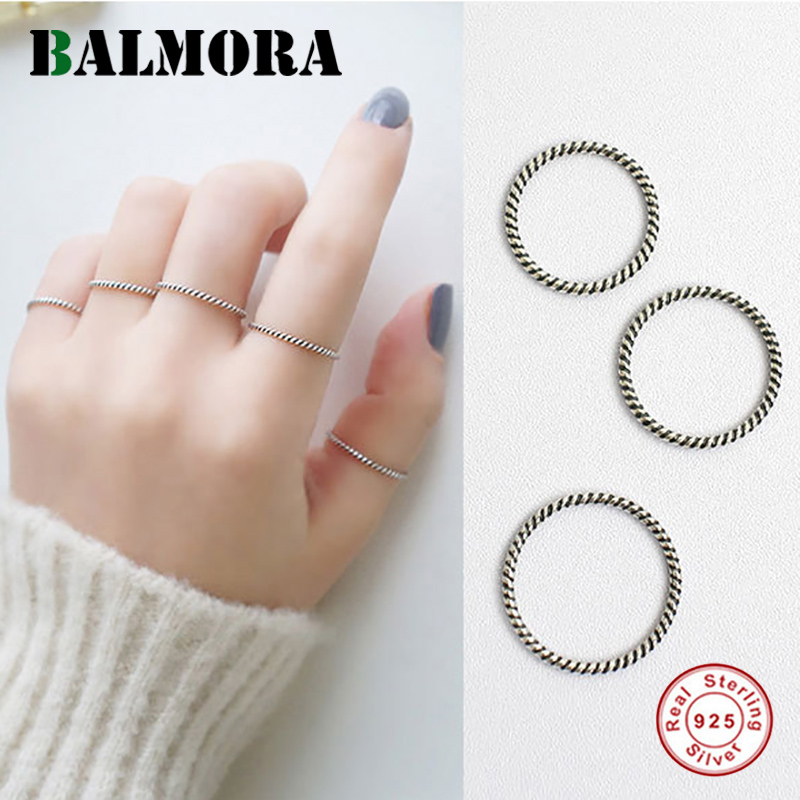 BALMORA 1 Piece 100% Real 925 Sterling Silver Midi Finger Knuckle Rings for Women Party Gifts Jewelry Simple Fashion Ring image