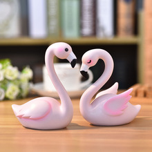 Resin Crafts Cute animal ornaments Flamingo Cake decoration swan Wedding souveni Home Decorations