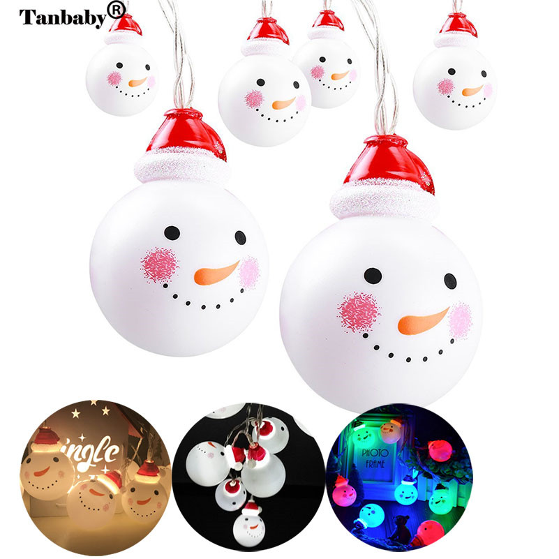 Tanbaby 10/20 LED Fairy Snowman String Light AA Battery Operated Indoor Outdoor Wedding Christmas Party Xmas Decoration Lamp