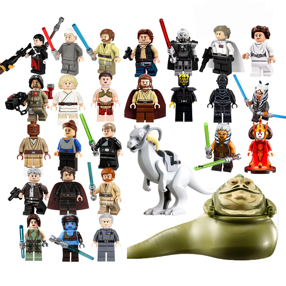 Classic Star Wars Figures Leia Luke Jabba Queen Padme Amidala C3Po LEGOinglys Yoda Han Solo Building Blocks Brick Toy Gift