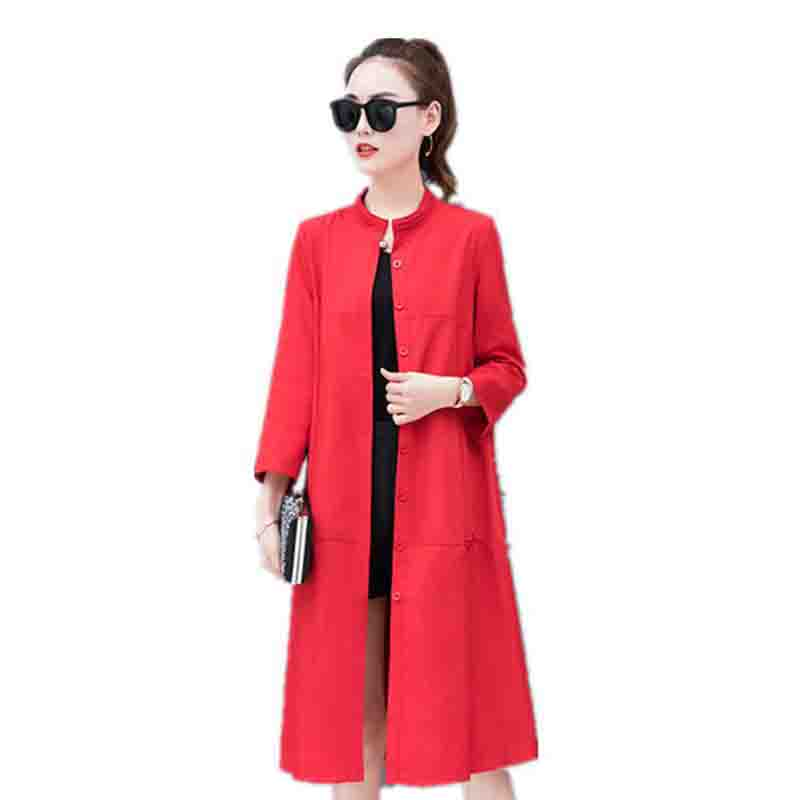 2019 New Spring Long   Trench   Coat Women Fashion Classic Single-breasted High quality Thin Windbreaker Casual Plus size Outerwear