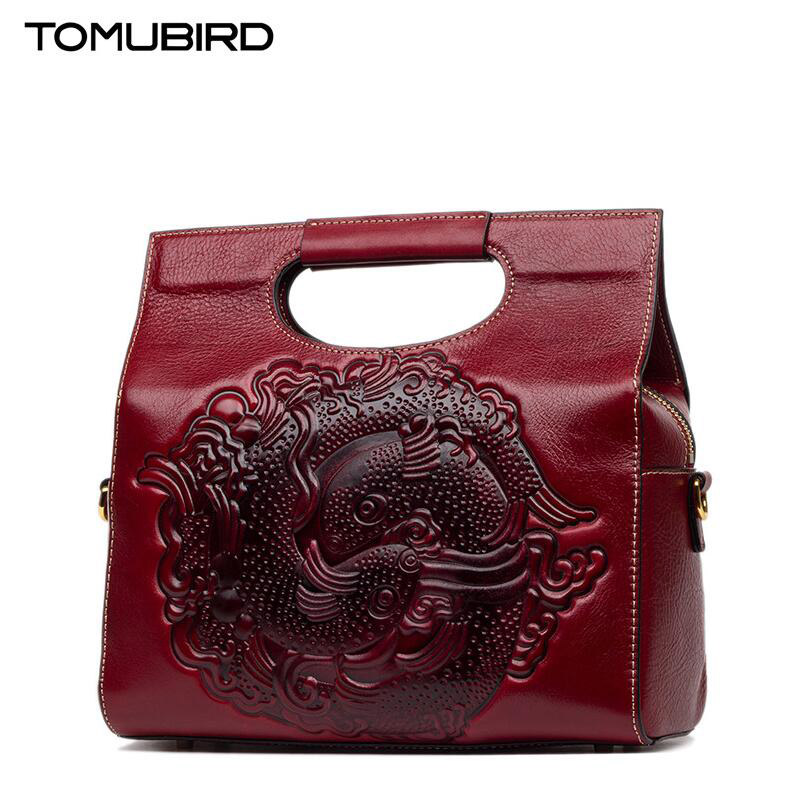 TOMUBIRD New Superior cowhide leather Designer Inspired Tote Shoulder font b Bags b font Embossing flowers